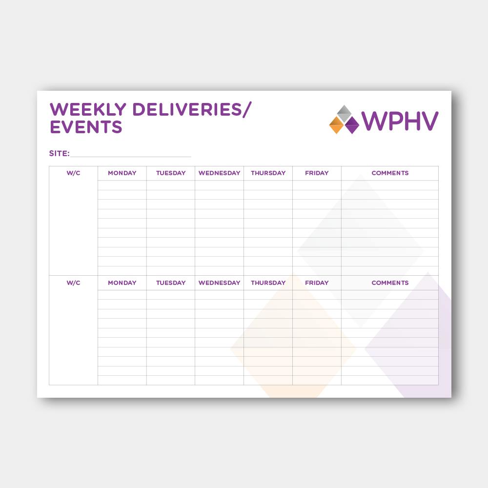 Weekly Deliveries / Events