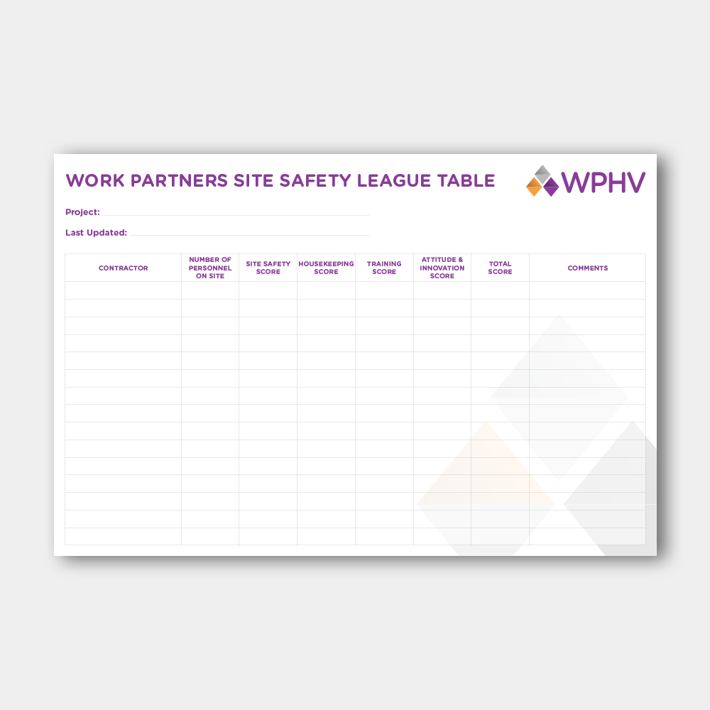 Work Partners Site Safety League Table